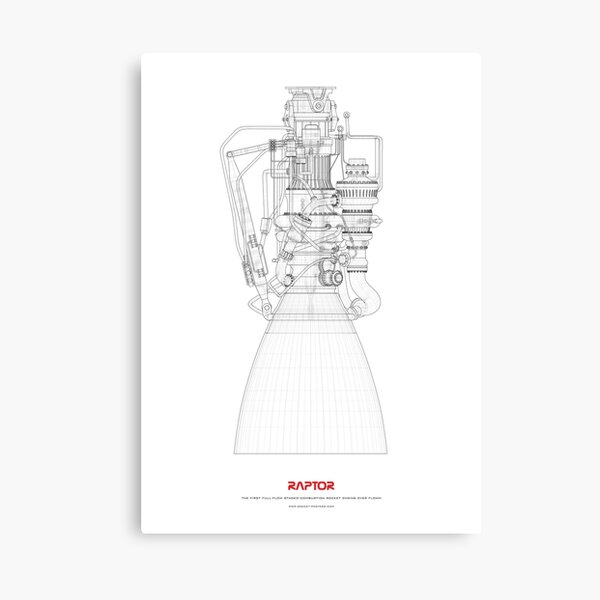 Blueprint of SpaceX Raptor Rocket Engine Canvas Print