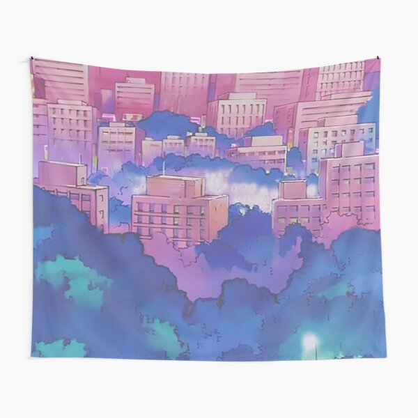 Sailor Moon Pink City Dream Landscape  Tapestry
