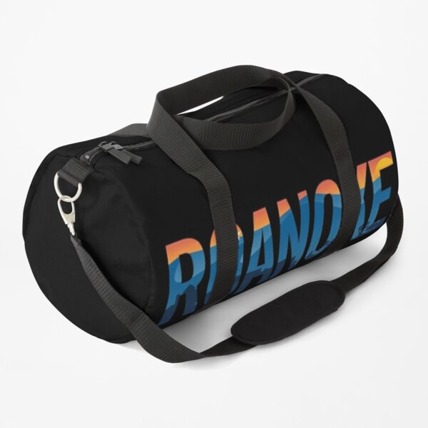 Roanoke pride illustration with mountains, star, city scape and sunset Duffle Bag