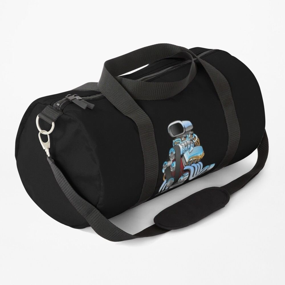 Hot rod race car engine cartoon Duffle Bag
