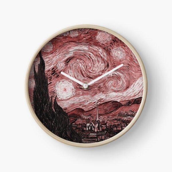 Pink Starry Night Clock