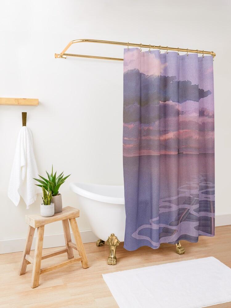 Alternate view of Spirited Away Railroad Nighttime Aesthetic Shower Curtain