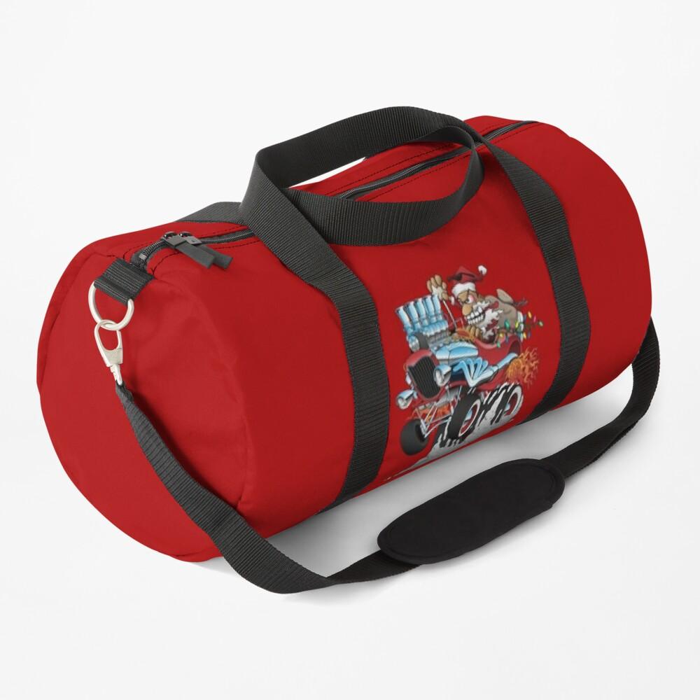 Hot Rod Santa Christmas Cartoon Duffle Bag