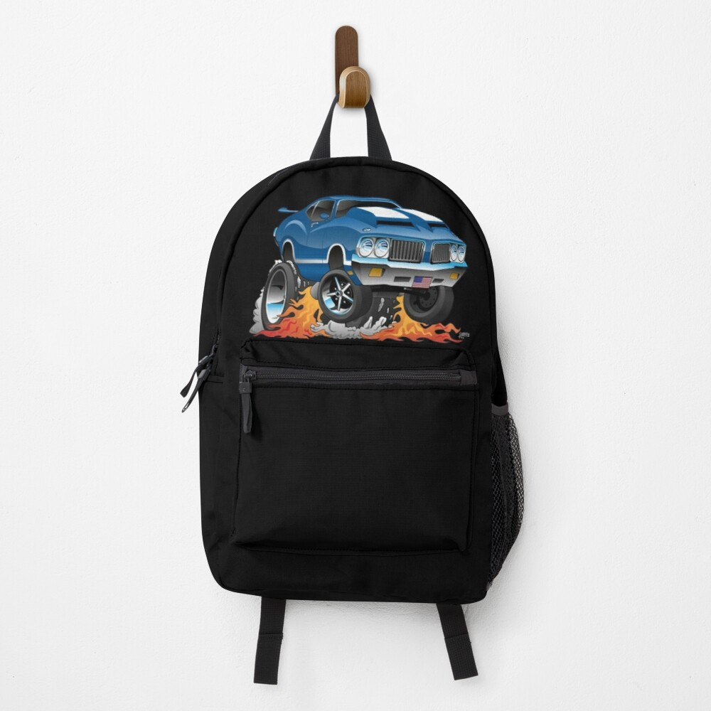 Classic Seventies American Muscle Car Hot Rod Cartoon Illustration Backpack