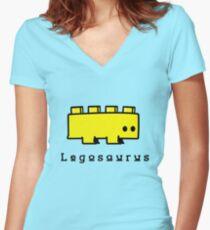 Legosaurus funny nerd geek geeky Women's Fitted V-Neck T-Shirt