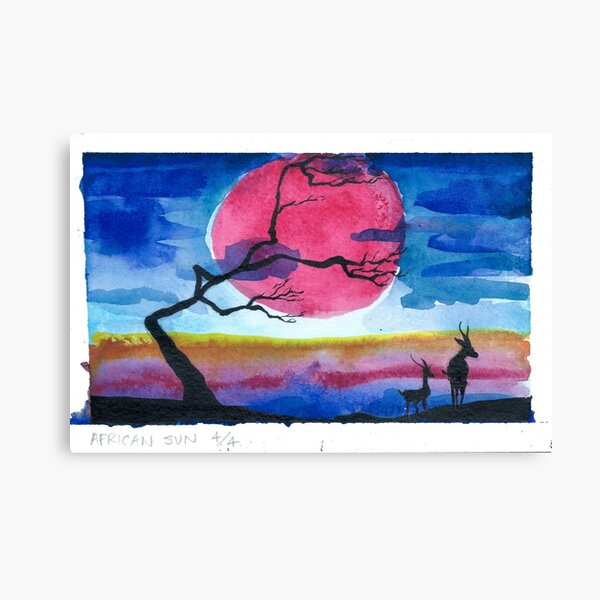 African Sun Watercolor #4 Canvas Print