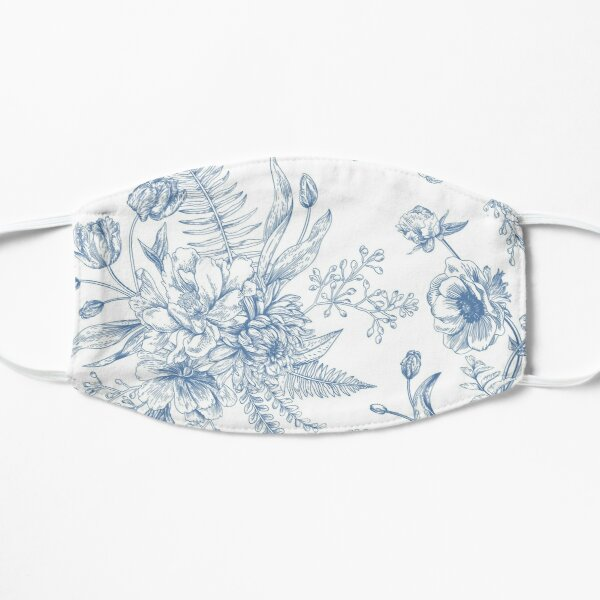 Blue toile flowers Mask