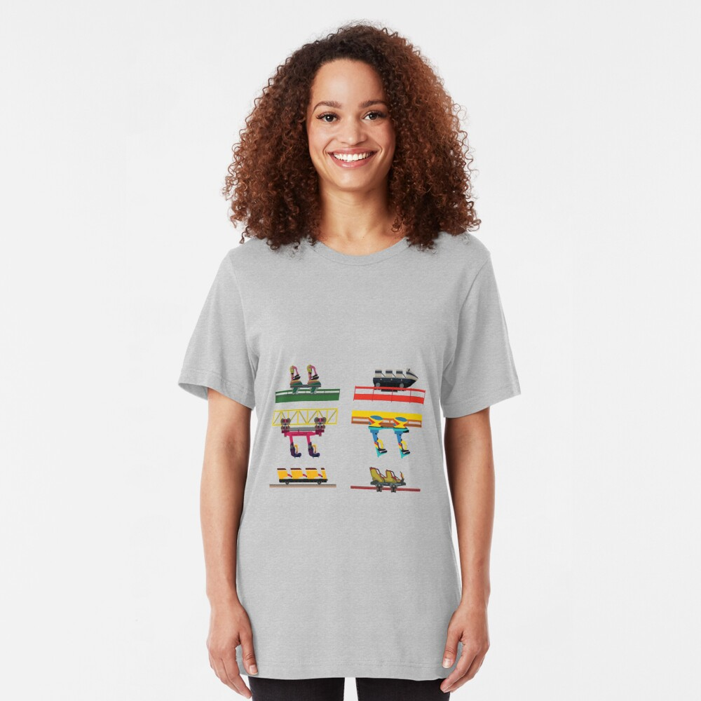 Dorney Park Coaster Cars Design Slim Fit T-Shirt