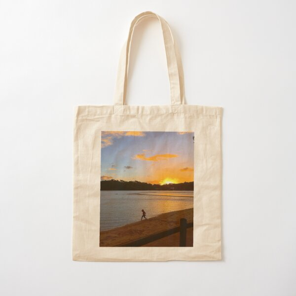 Sunset on beach with child Cotton Tote Bag