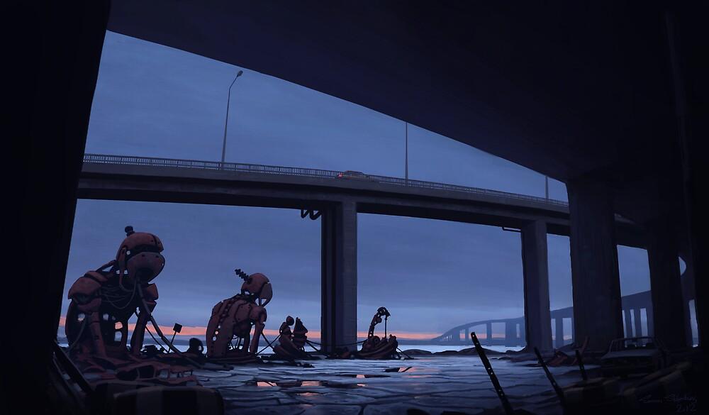Bilfärd över Björksättersfjärden by Simon Stålenhag