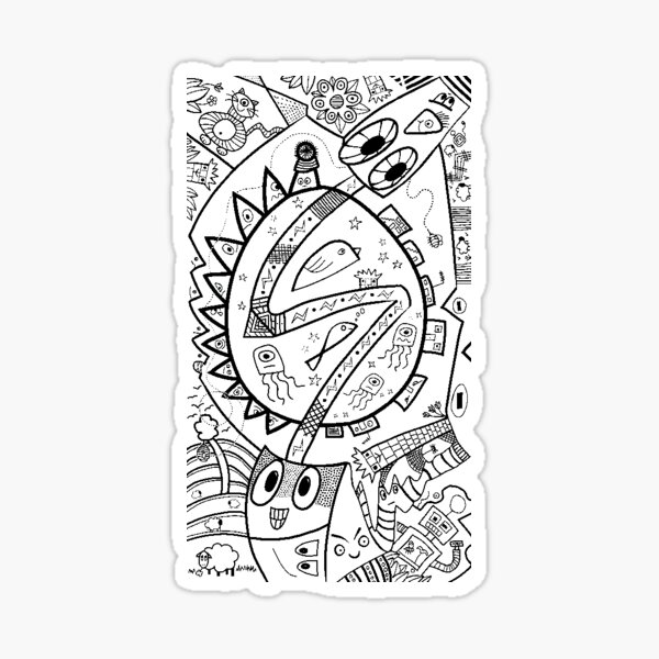 Busy Drawing #1 - White / Transparent Background Sticker