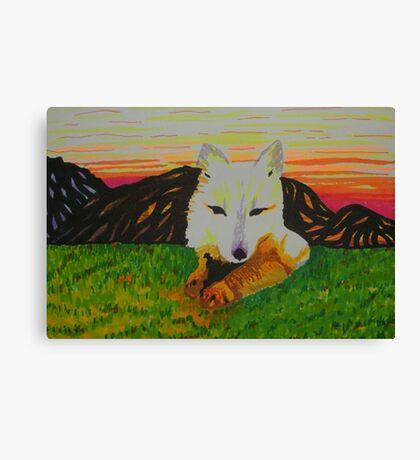 Arctic Fox in spring Canvas Print