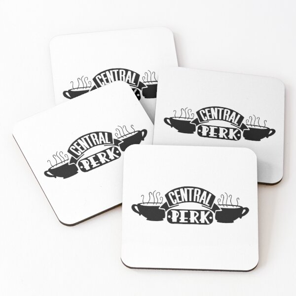 Central Perk logo in black and white Coasters (Set of 4)