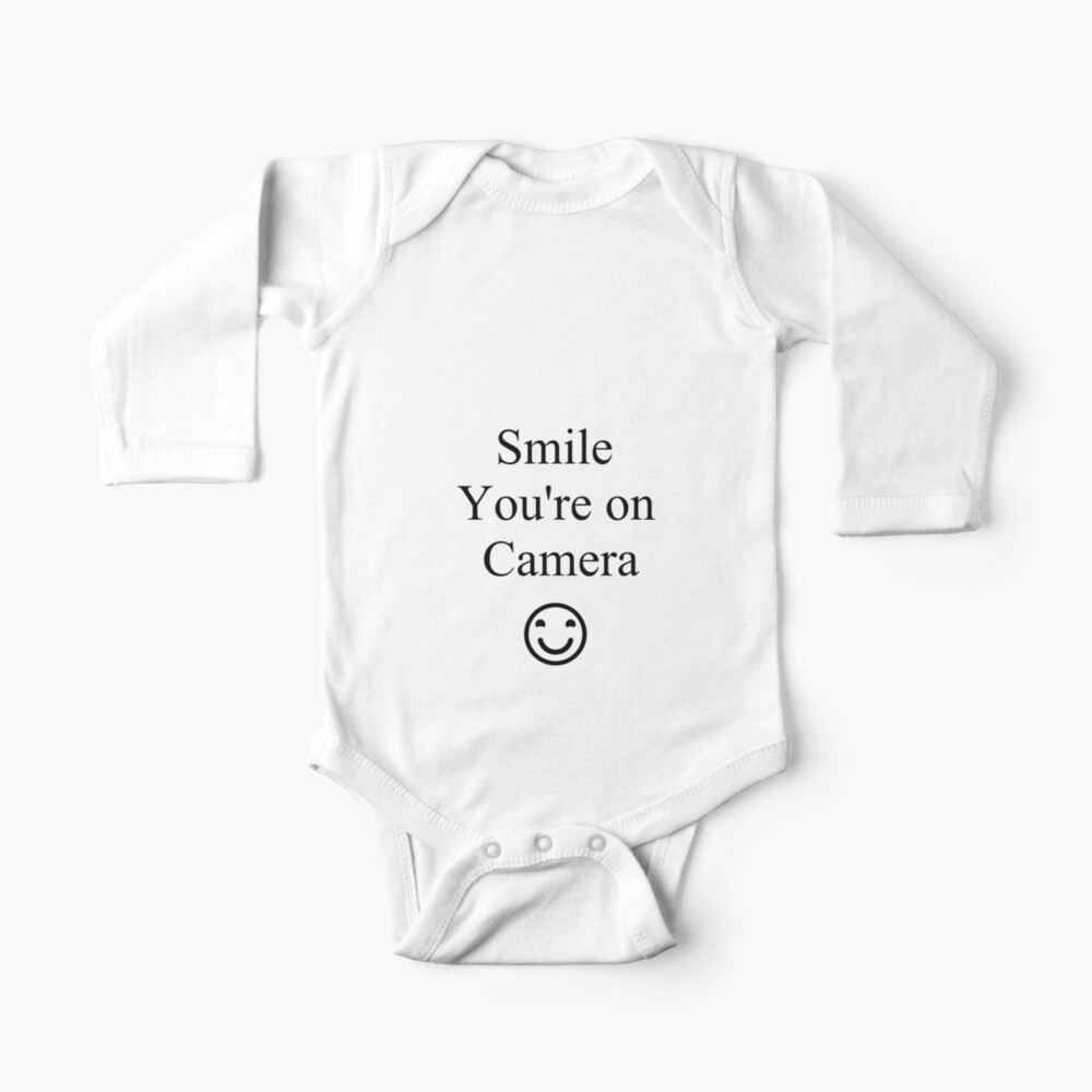 Smile You're on Camera Sign Baby One-Piece