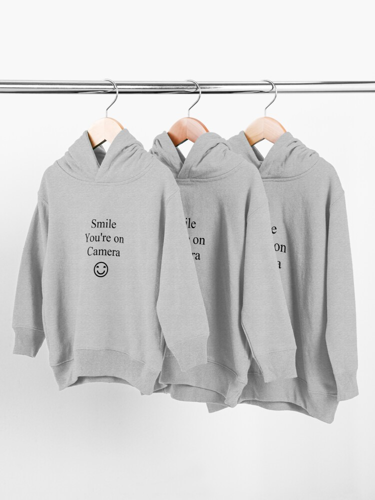Alternate view of Smile You're on Camera Sign Toddler Pullover Hoodie