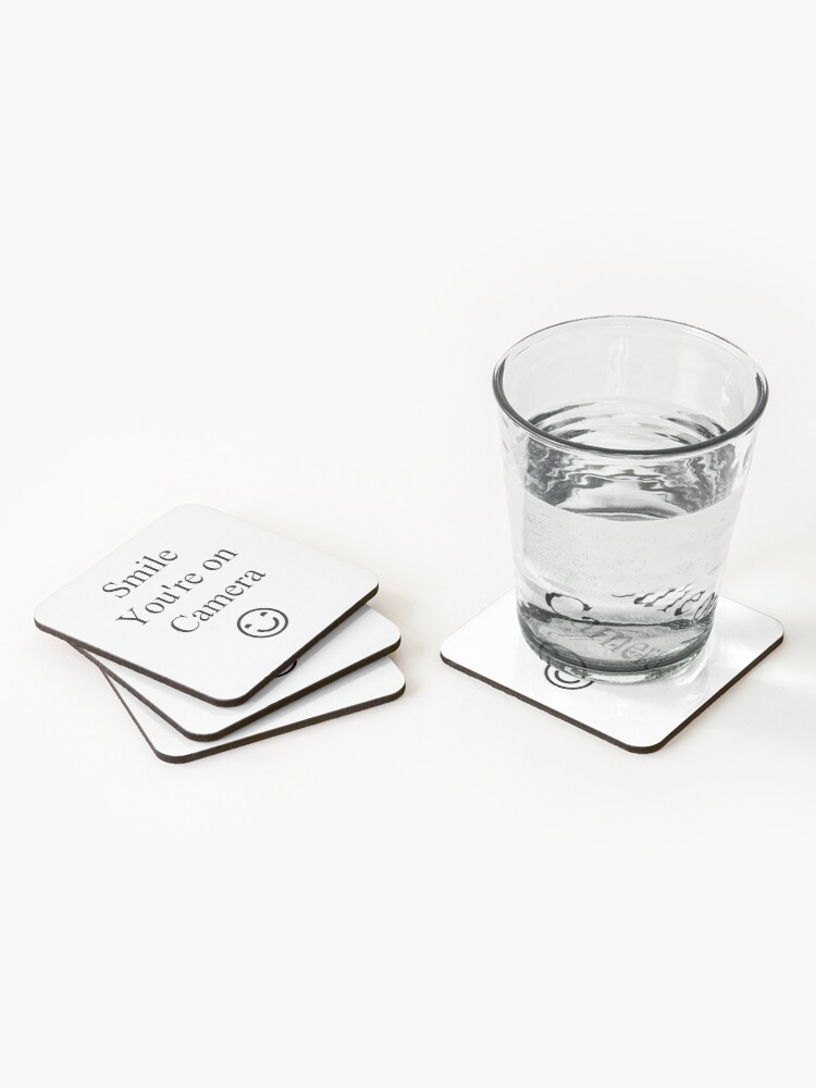 Alternate view of Smile You're on Camera Sign Coasters (Set of 4)