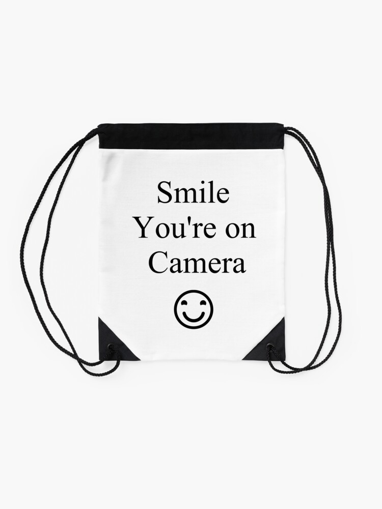 Alternate view of Smile You're on Camera Sign Drawstring Bag