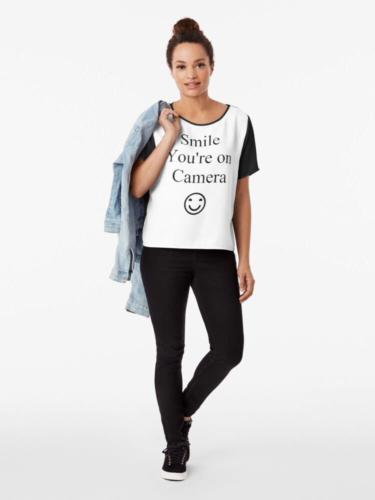 Alternate view of Smile You're on Camera Sign Chiffon Top