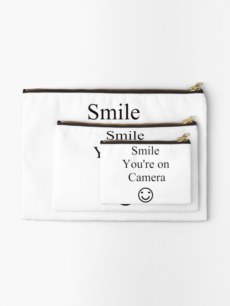 Alternate view of Smile You're on Camera Sign Zipper Pouch