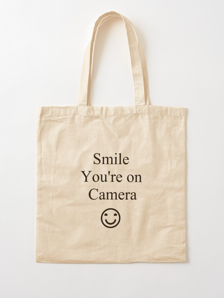 Alternate view of Smile You're on Camera Sign Tote Bag