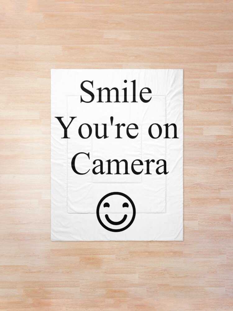 Alternate view of Smile You're on Camera Sign Comforter
