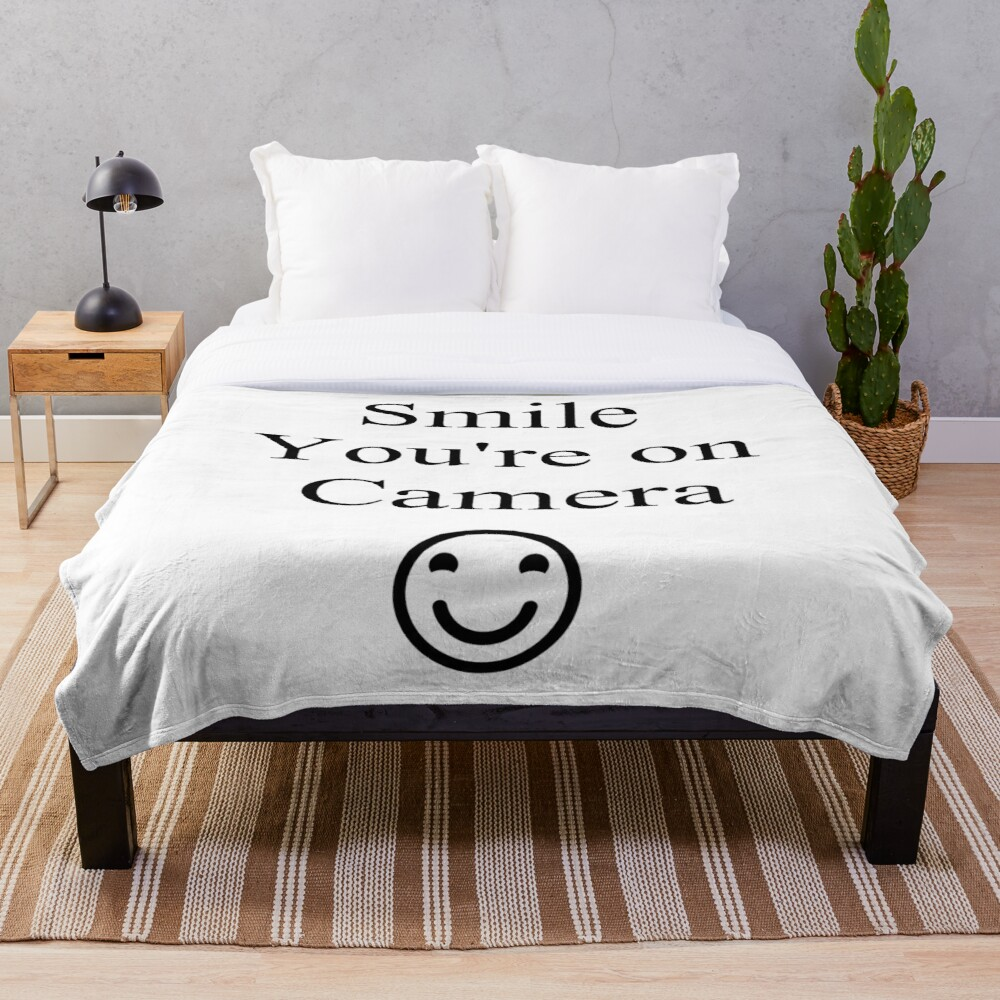 Smile You're on Camera Sign Throw Blanket