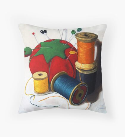 Sewing Pincushion - realistic sewing & thread spools Throw Pillow