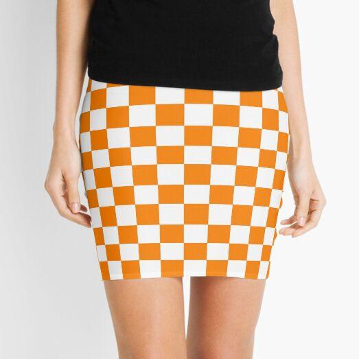 Orange and White Checkerboard  Mini Skirt