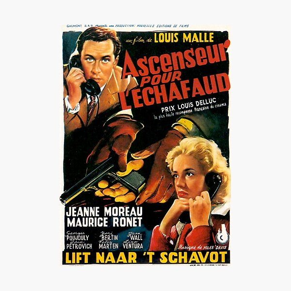 Lift to the Scaffold / Elevator to the Gallows / Ascenseur Pour L'Echafaud - Louis Malle - vintage French New Wave film poster Photographic Print