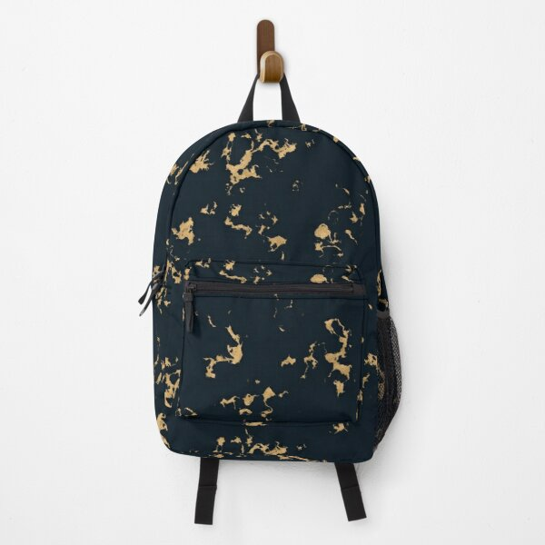 Black Minimal Marble with Gold Backpack