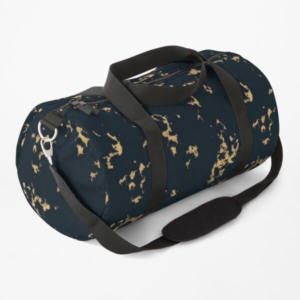 Black Minimal Marble with Gold Duffle Bag
