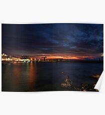a flaming sunset at Tel Aviv port Poster