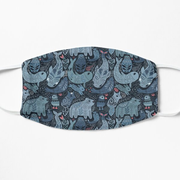 Arctic animals. Narwhal, polar bear, whale, puffin, owl, fox, bunny, seal. Flat Mask