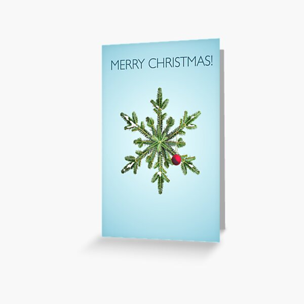 Christmas Snowy Pine Snowflake Greeting Card