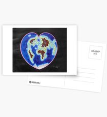 Heart map projection Postcards