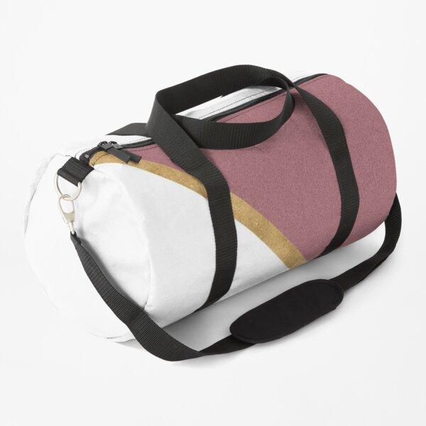 Minimal Glitter Rose Gold and White Design Duffle Bag