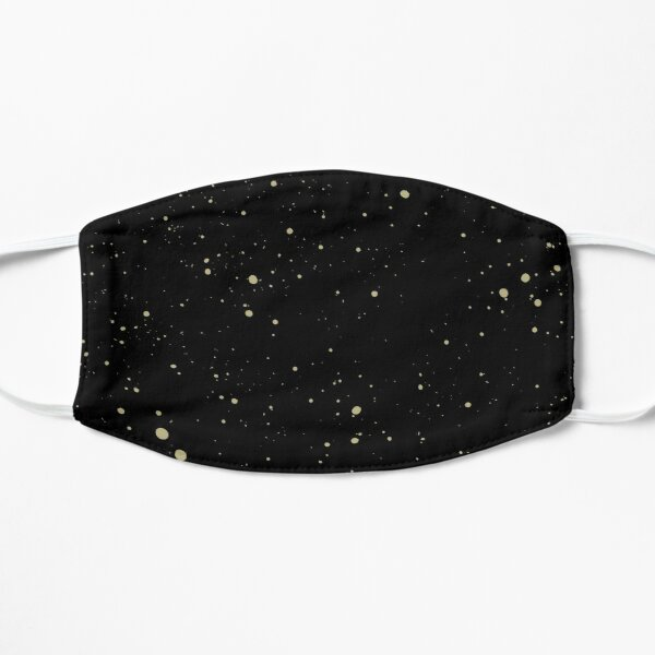Simple Black and Gold Speckled Pattern Flat Mask