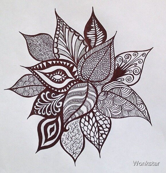 Black and White Flower Doodle by Wonkstar