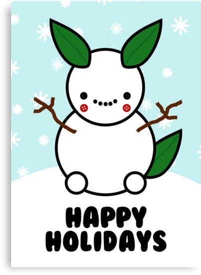 Snowman Pikachu Pokemon Card by hellohappy