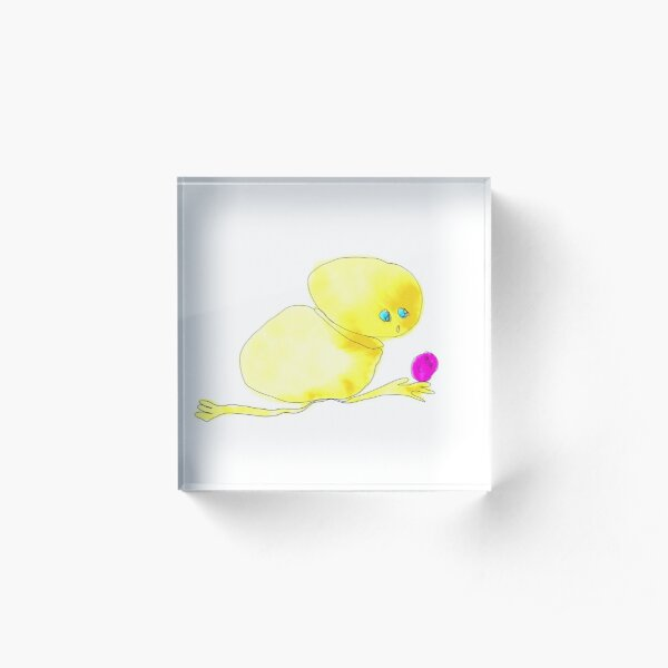 Happy and surprized yellow  funny creature Acrylic Block