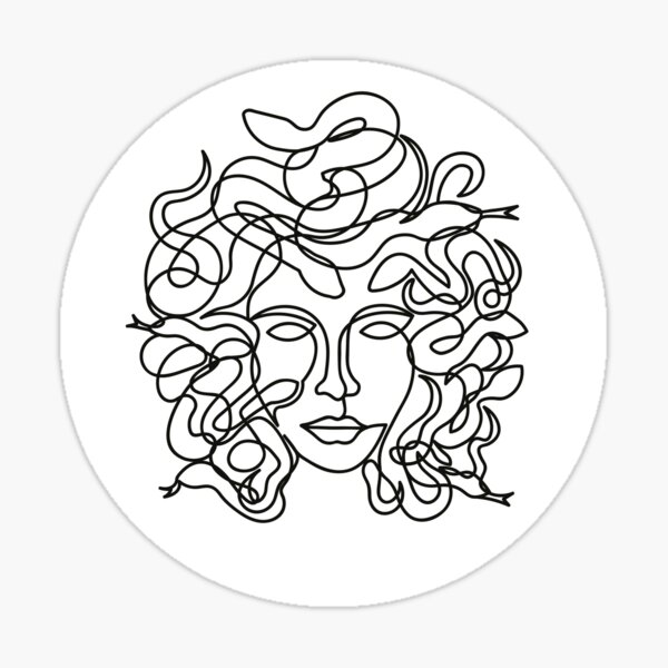 Medusa Face in single line style Sticker