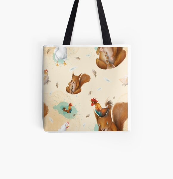 Squirrels and hens All Over Print Tote Bag