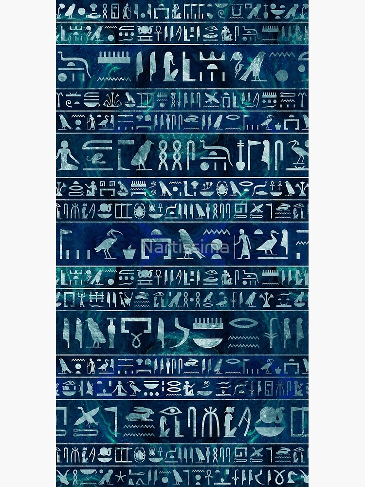 Egyptian hieroglyphs -silver on blue painted texture by Nartissima