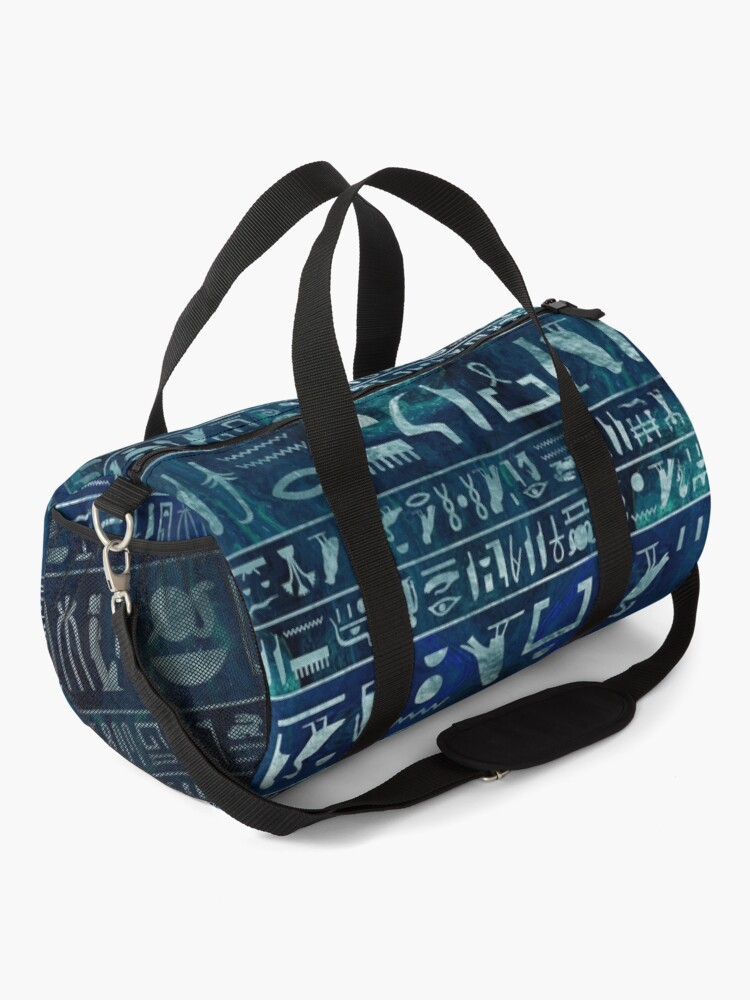 Alternate view of Egyptian hieroglyphs -silver on blue painted texture Duffle Bag