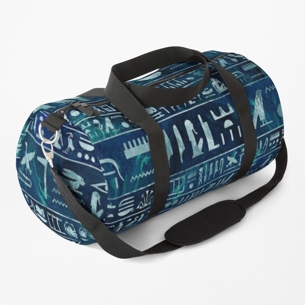 Egyptian hieroglyphs -silver on blue painted texture Duffle Bag