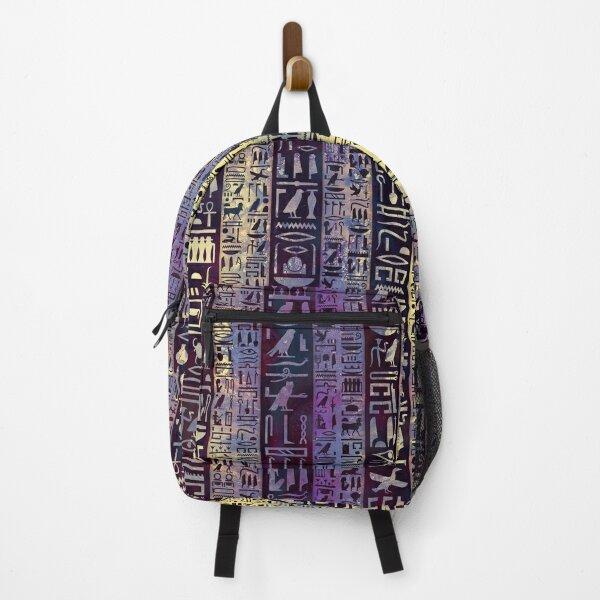 Egyptian hieroglyphs on purple violet painted texture Backpack