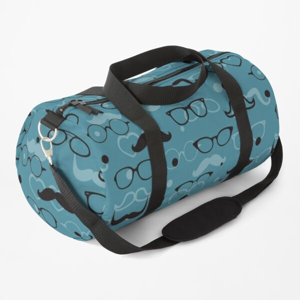 Hipster Elements Pattern on blue Duffle Bag