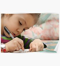 Little Girl Drawing Poster