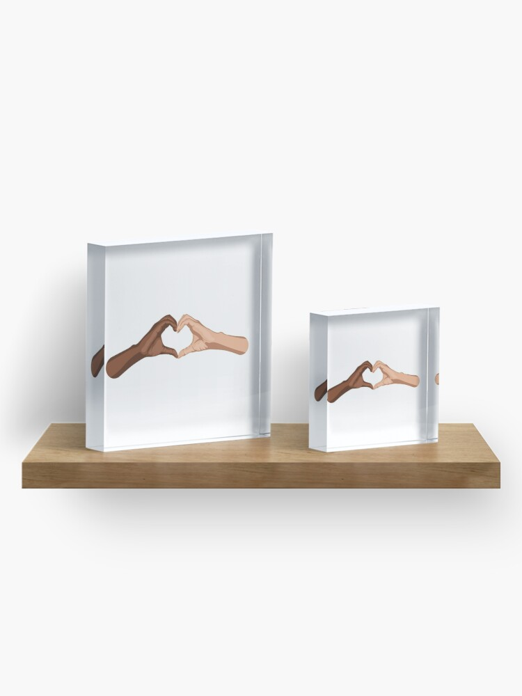 Alternate view of Heart hands together - black lives matter Acrylic Block