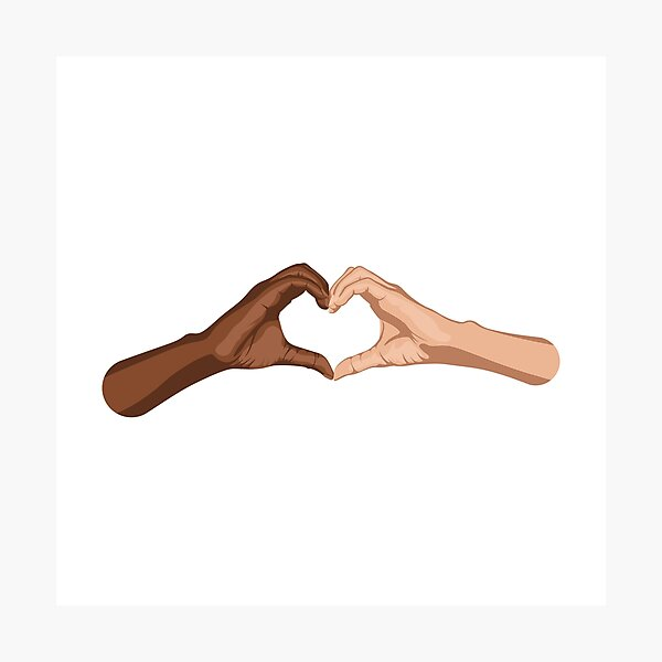 Heart hands together - black lives matter Photographic Print